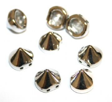 130pcs x 9mm*9mm studs - spike beads -- with 2 holes --  Finish: rhodium